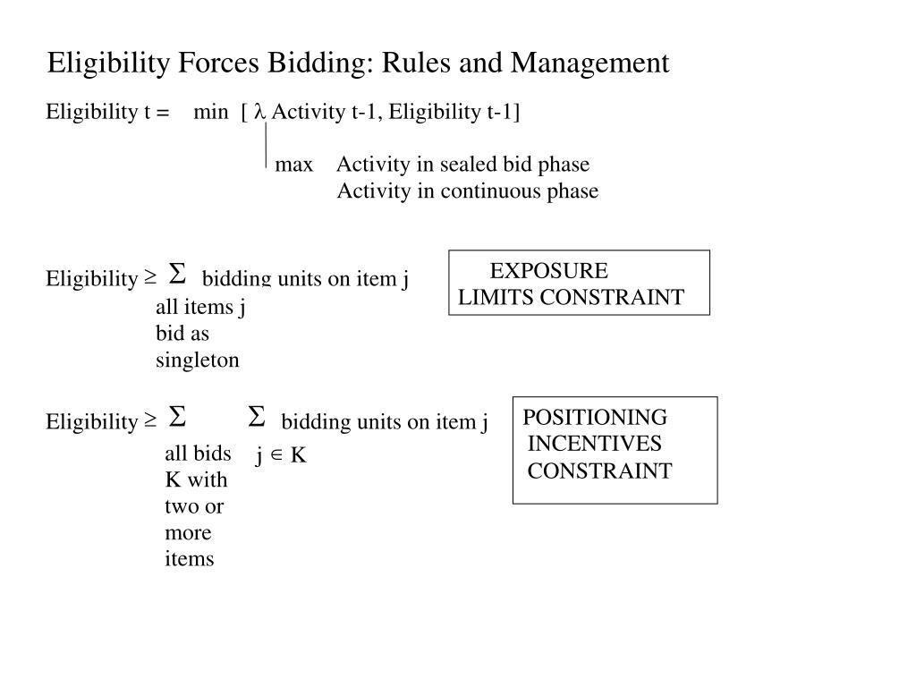 Eligibility Forces Bidding: Rules and Management
