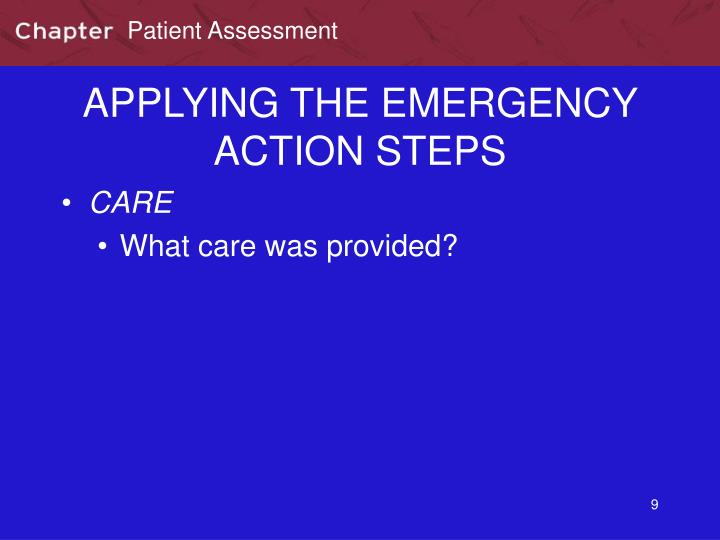 APPLYING THE EMERGENCY ACTION STEPS