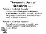 therapeutic uses of epinephrine cont