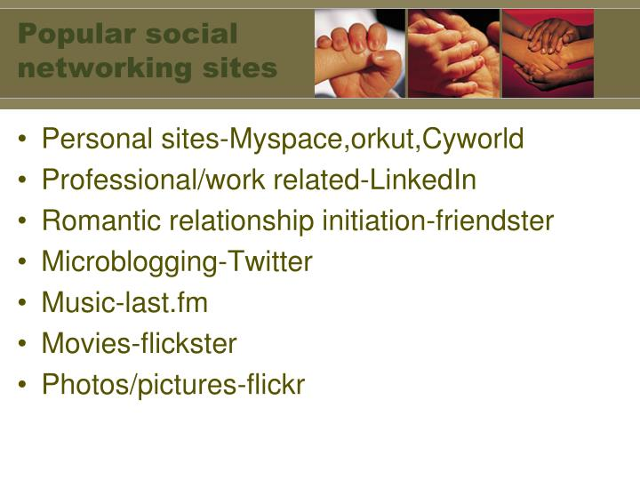 Popular social networking sites