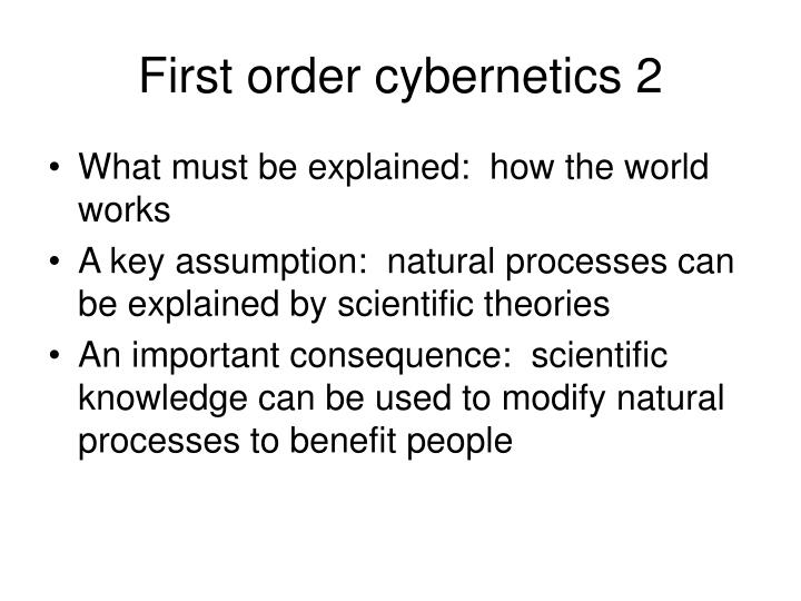 First order cybernetics 2