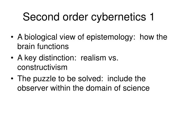 Second order cybernetics 1
