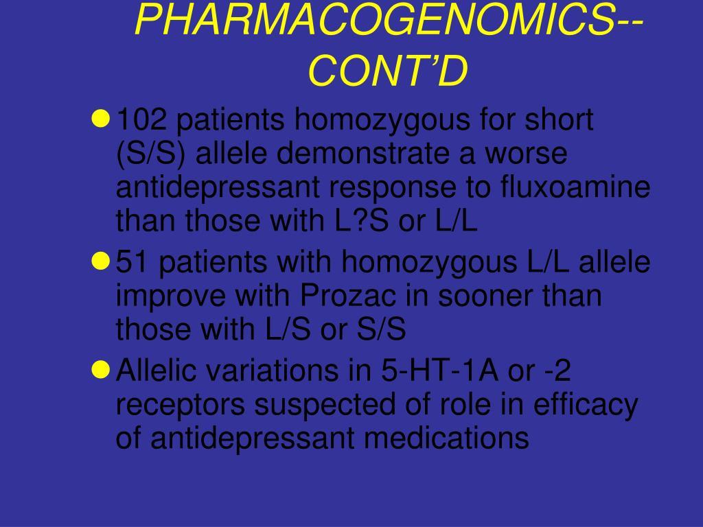PHARMACOGENOMICS--CONT'D