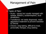 management of pain12