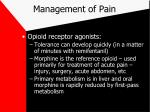management of pain18