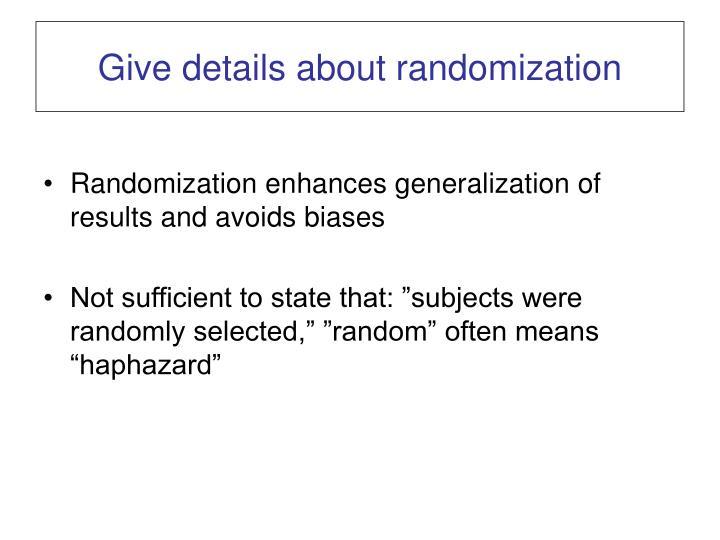 Give details about randomization