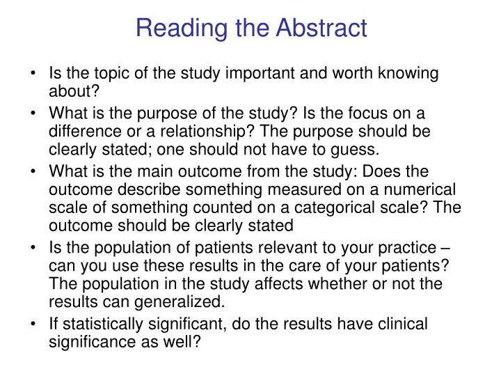 Reading the Abstract