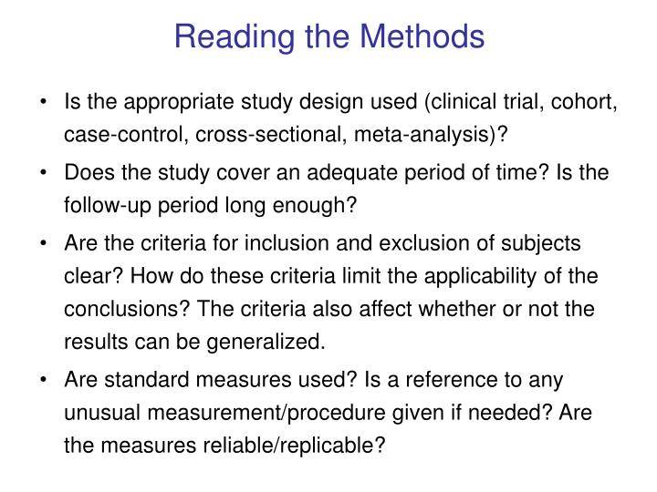 Reading the Methods