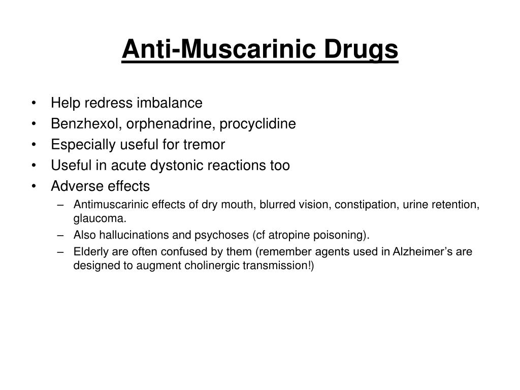 Anti-Muscarinic Drugs