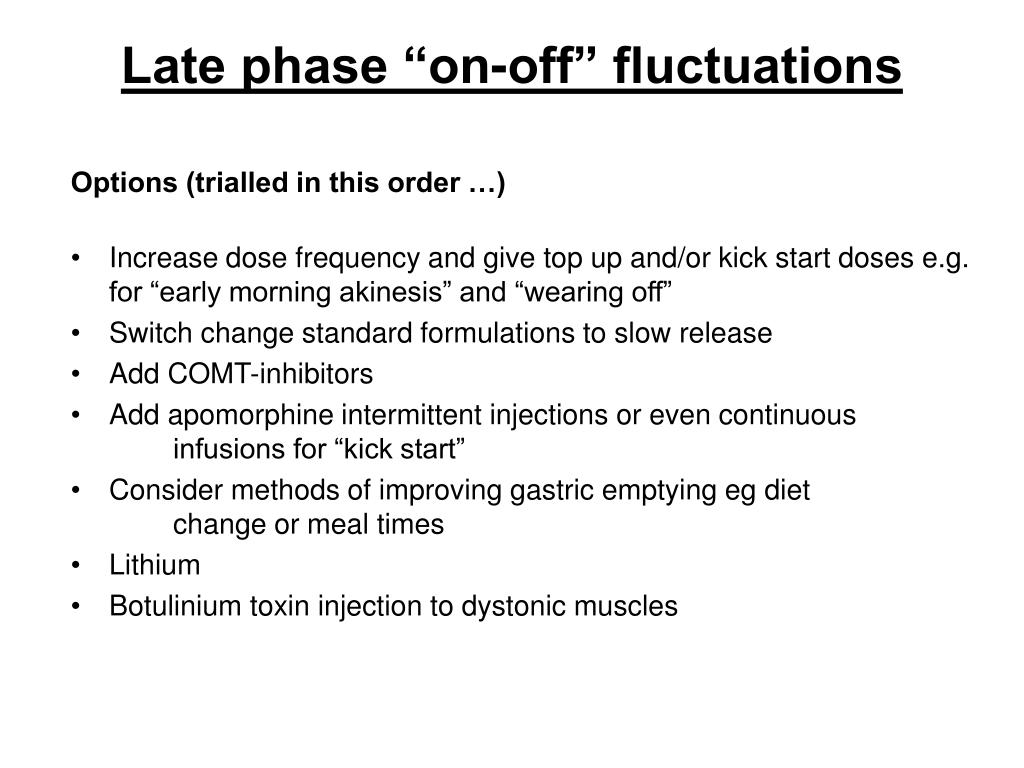 "Late phase ""on-off"" fluctuations"