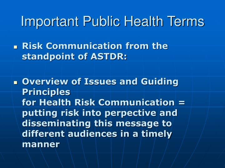 Important Public Health Terms