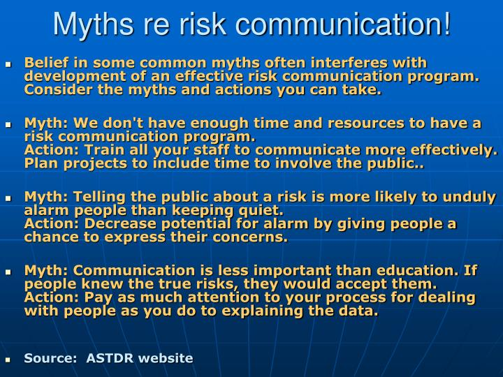 Myths re risk communication!