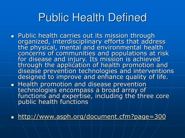 Public health defined