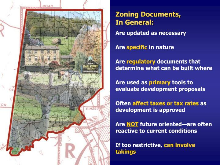 Zoning Documents,                        In General: