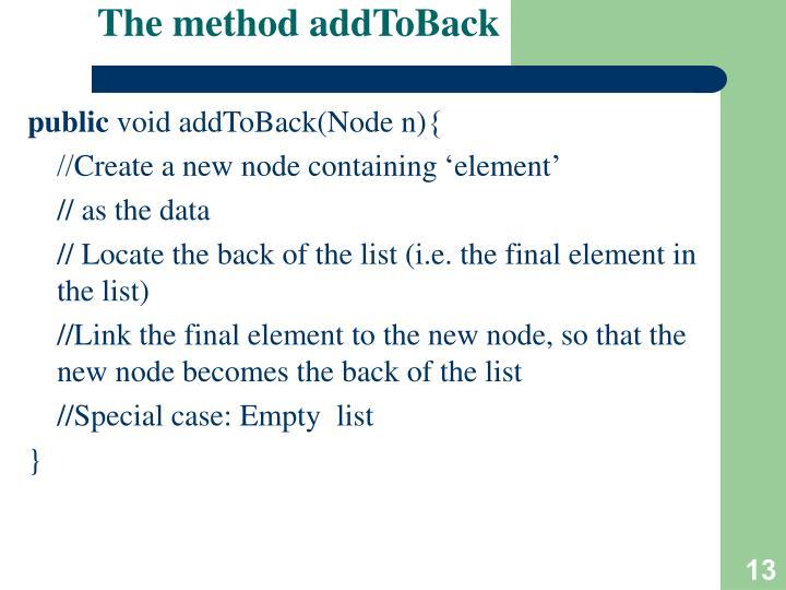 The method addToBack
