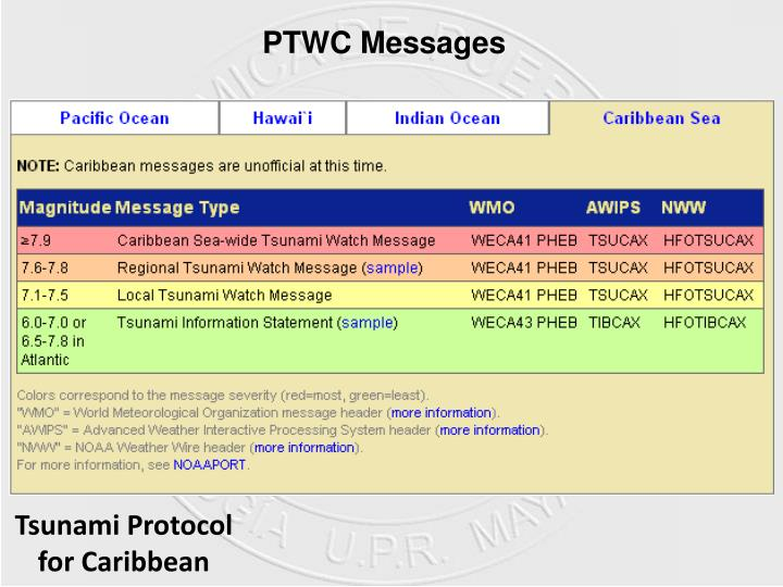 PTWC Messages