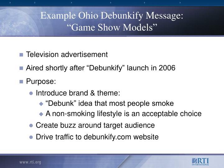 Example Ohio Debunkify Message: