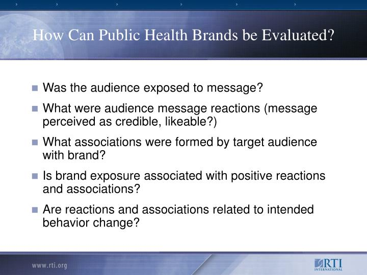How Can Public Health Brands be Evaluated?