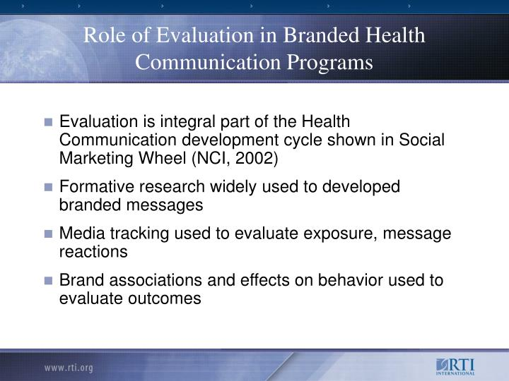 Role of Evaluation in Branded Health Communication Programs