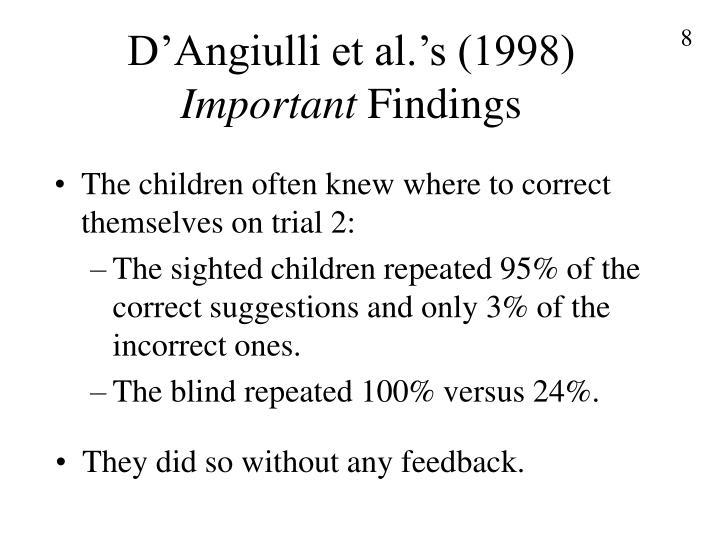 D'Angiulli et al.'s (1998)