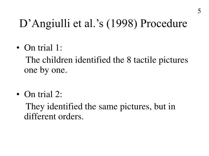 D'Angiulli et al.'s (1998) Procedure
