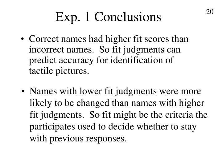 Exp. 1 Conclusions