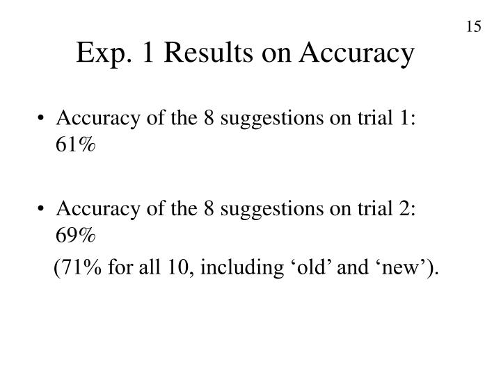 Exp. 1 Results on Accuracy