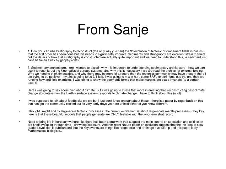 From Sanje
