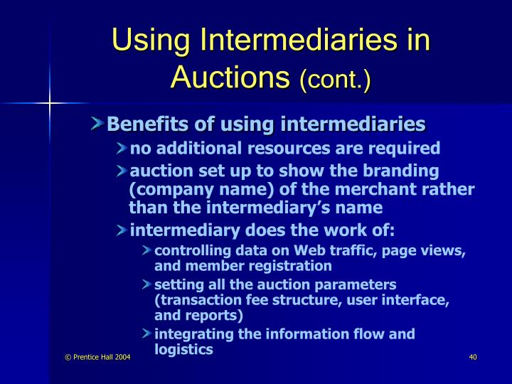 Using Intermediaries in Auctions