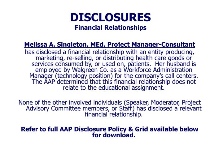 Disclosures financial relationships