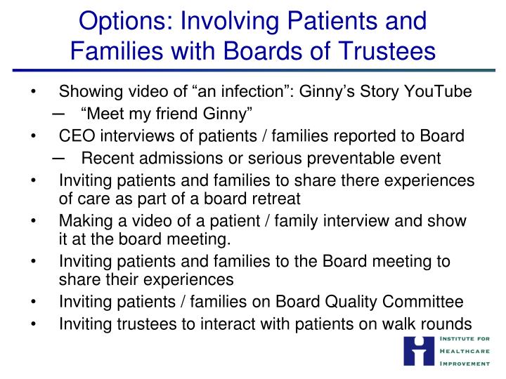 Options: Involving Patients and Families with Boards of Trustees