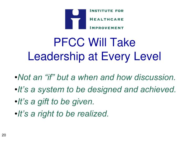 PFCC Will Take Leadership at Every Level