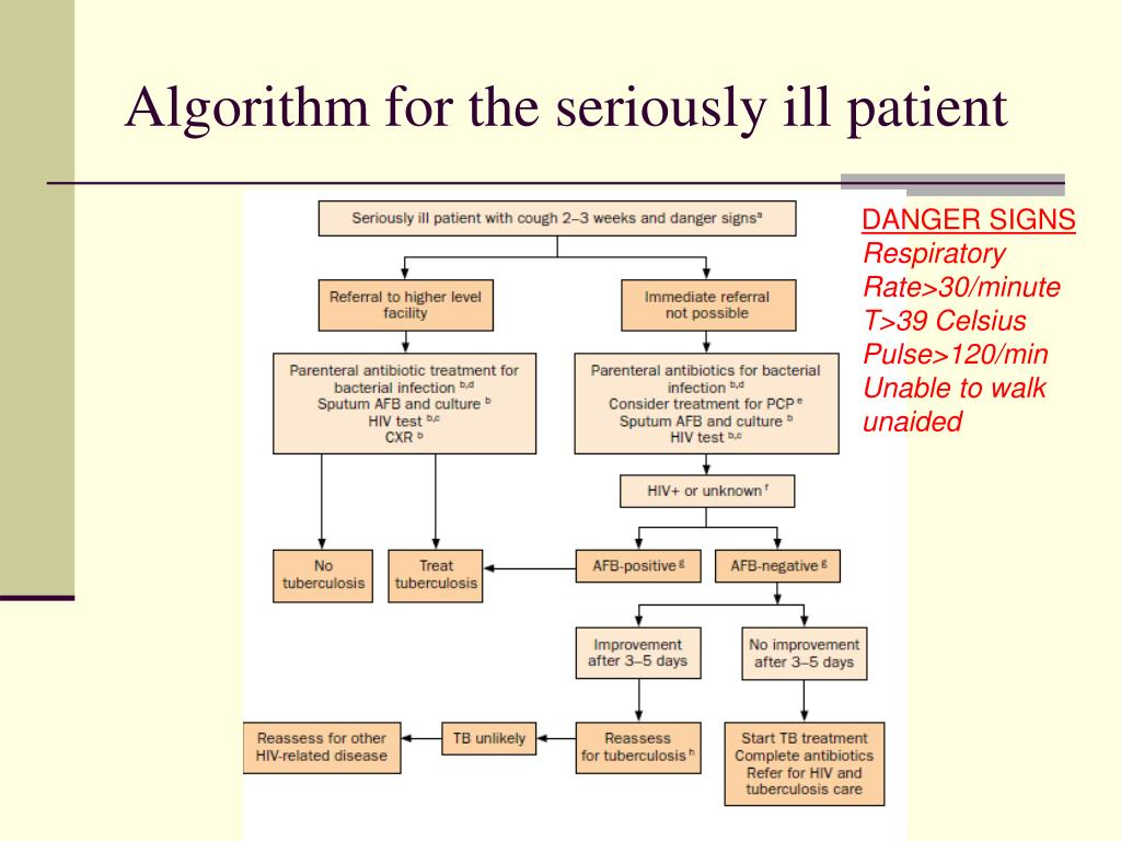 Algorithm for the seriously ill patient