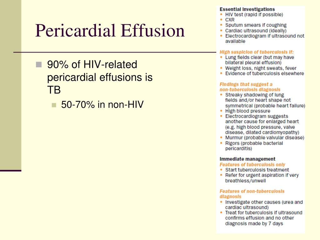 90% of HIV-related pericardial effusions is TB