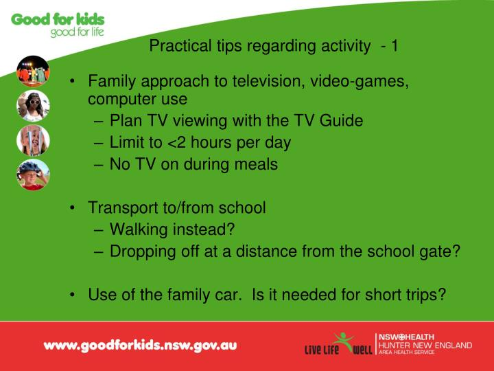Practical tips regarding activity  - 1
