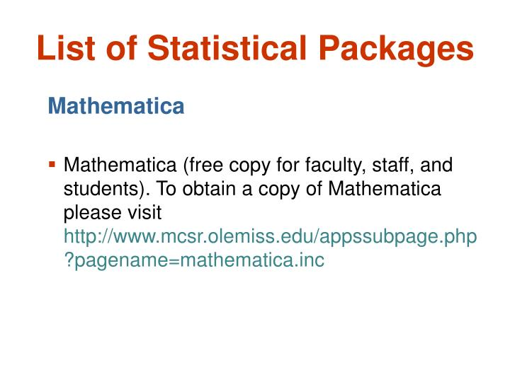 List of Statistical Packages
