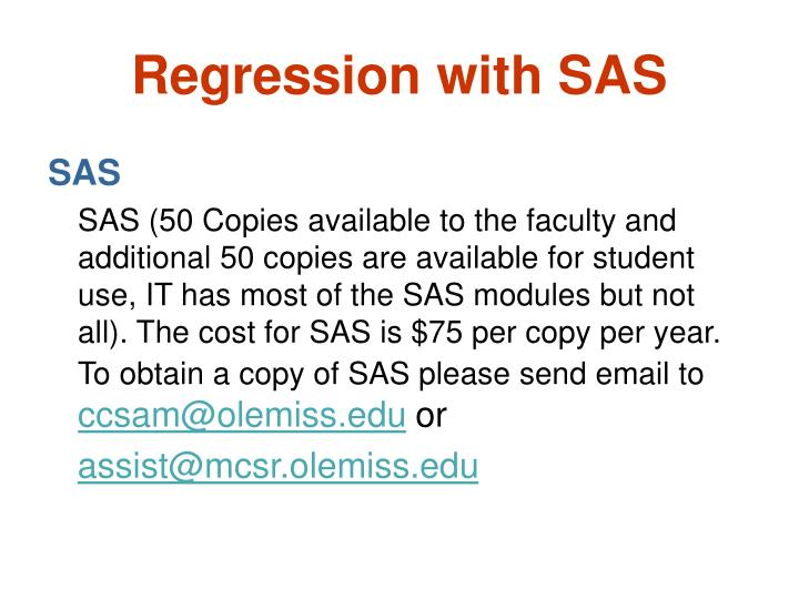 Regression with sas