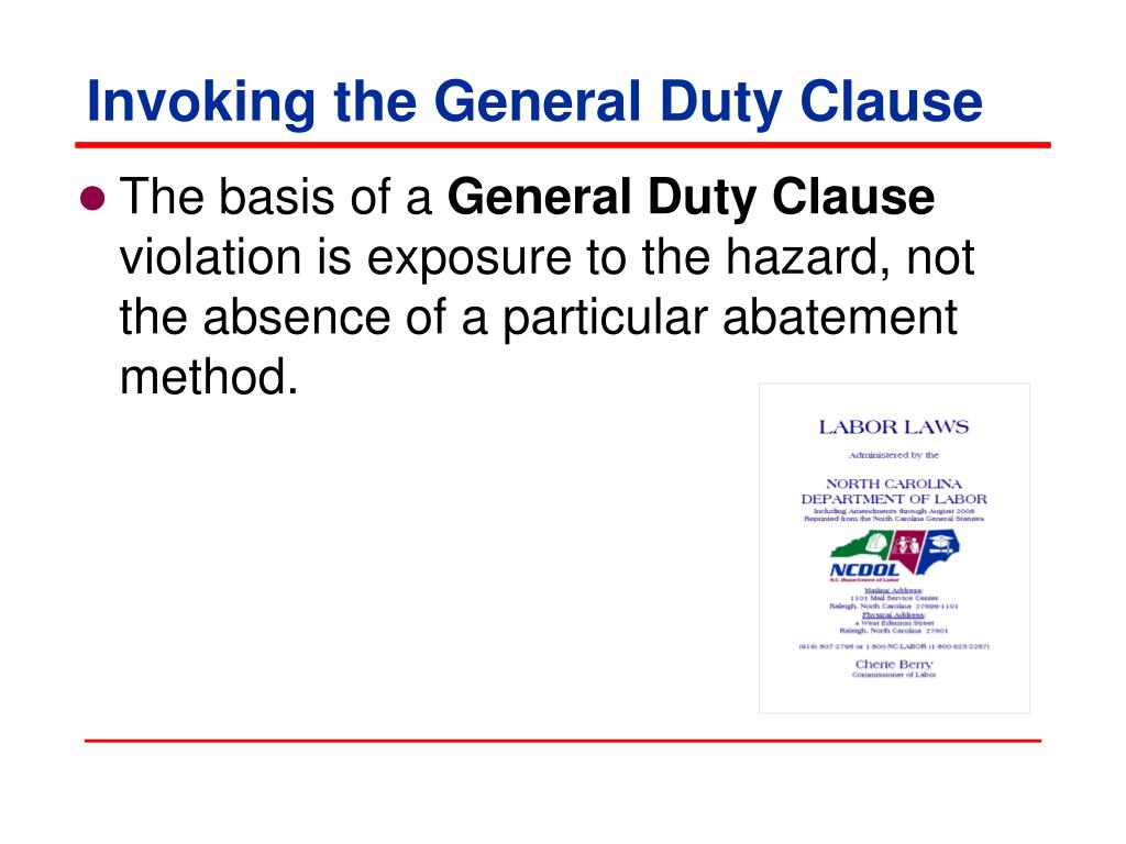 Invoking the General Duty Clause