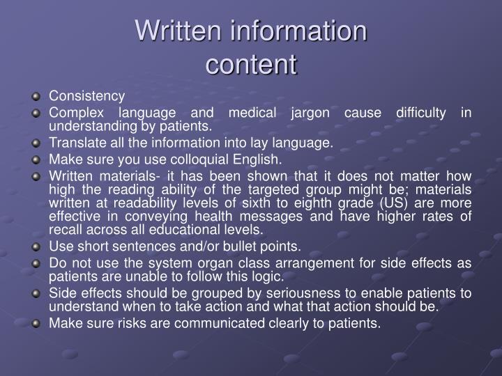Written information