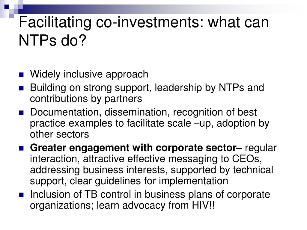 Facilitating co-investments: what can NTPs do?