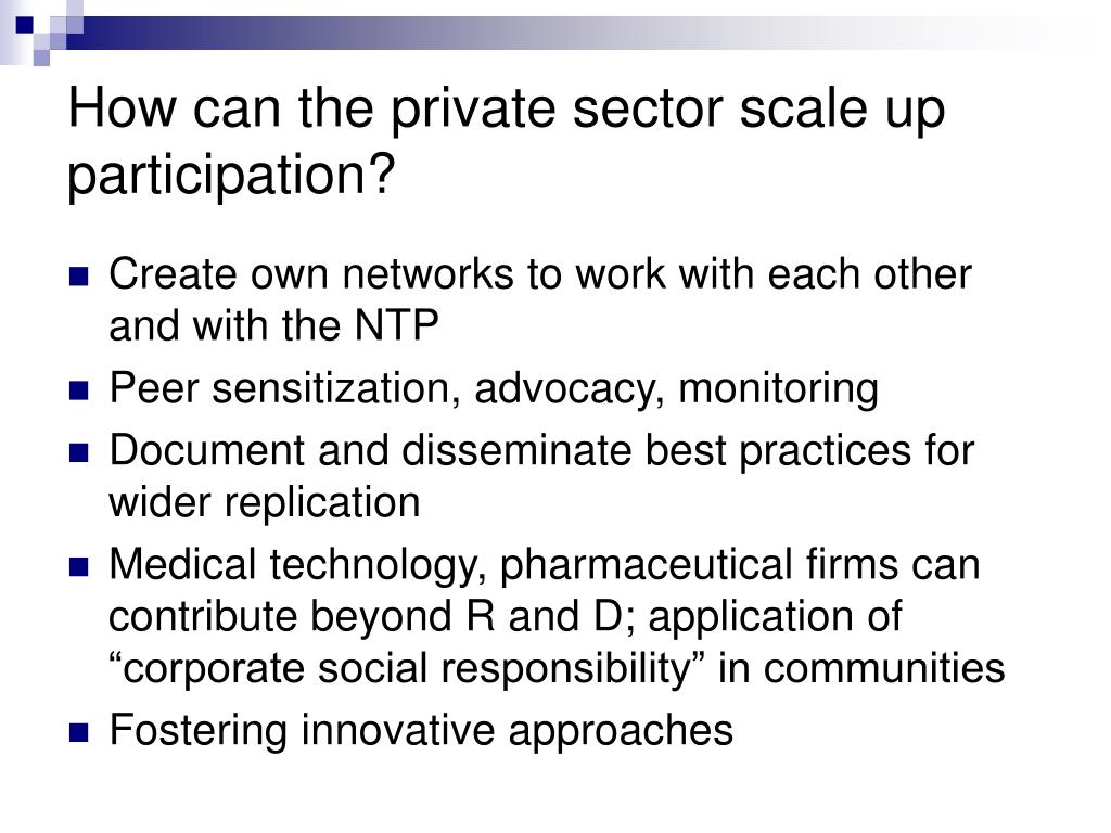 How can the private sector scale up participation?