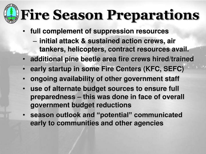 Fire Season Preparations