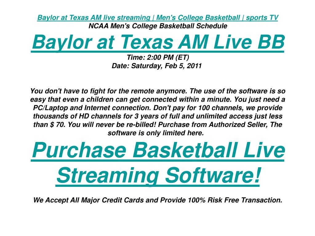 Baylor at Texas AM live streaming | Men's College Basketball | sports TV