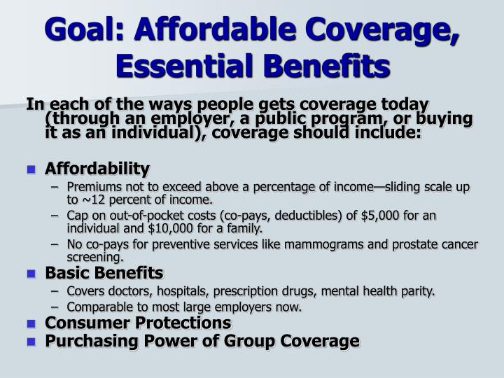 Goal: Affordable Coverage,