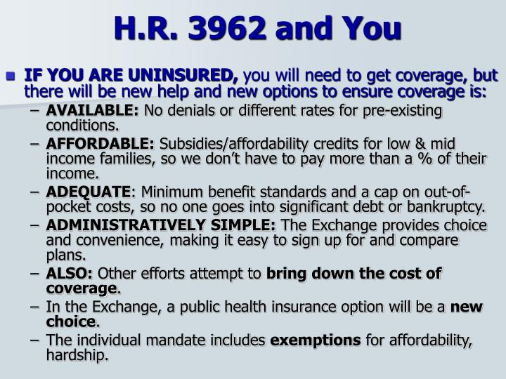 H.R. 3962 and You
