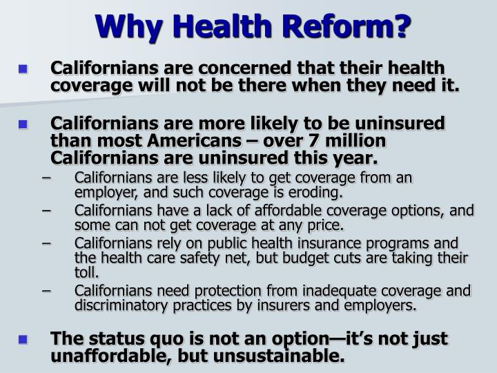 Why Health Reform?