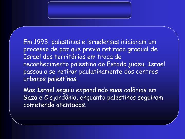Em 1993, palestinos e israelenses iniciaram um processo de paz que previa retirada gradual de Israel dos territórios em troca de reconhecimento palestino do Estado judeu. Israel passou a se retirar paulatinamente dos centros urbanos palestinos.