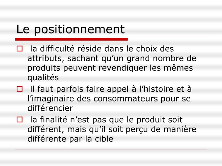 Le positionnement