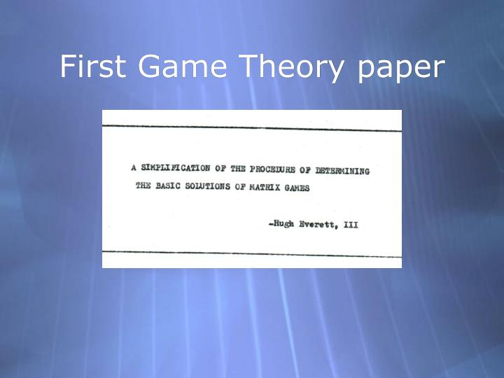 First Game Theory paper