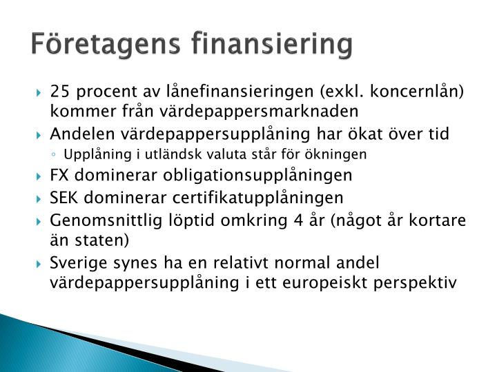 Företagens finansiering
